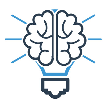 seo strategies graphic of brain and light bulb