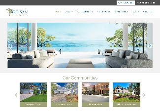 artisan home builder screenshot of web design