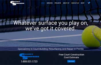 screenshot of website designed for Court Surfaces of Florida