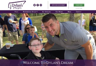 screenshot of dylan's dream website