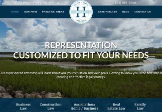 screenshot of website designed for Heekin Litigation Group
