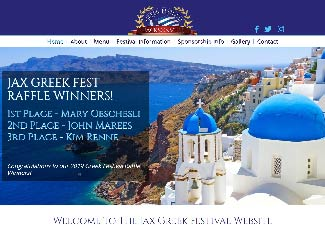 screenshot of Jacksonville Greek Festival's website design