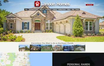 screenshot of website designed for Landon Homes home builder