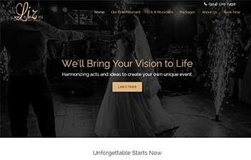 screenshot of website designed for Liz James Entertainment Group