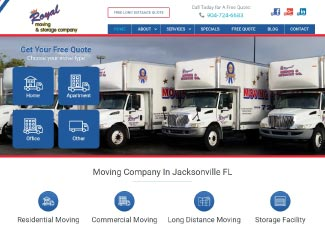 royal moving & storage screenshot of website