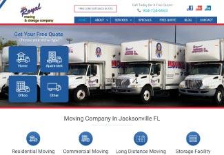 royal moving & storage screenshot of website
