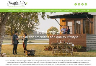 screenshot of simple life's new website design