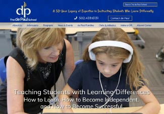 screenshot of website designed for The de Paul School
