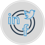 social media graphic containing facebook linkedin and twitter icons on gray background