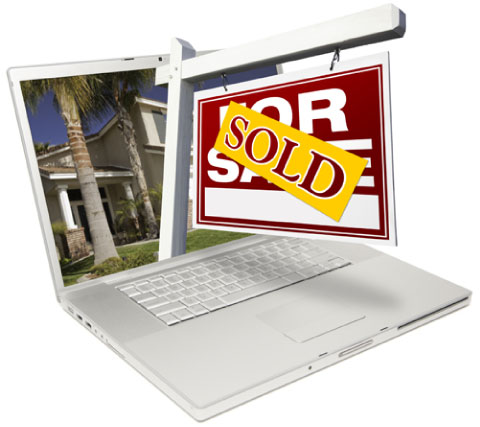 for sale sign popping out of laptop illustratesdigital marketing for real estate